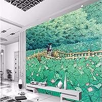 Wuyyii 大きい注文の壁紙の壁画日本のはす橋美しい居間の寝室の壁画3Dのフロアーリング-200X140Cm