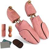 Wellnice シューキーパー シューツリー 高級レッドシダー 24.5-29cm対応 ブラシ・ムートン靴磨きクロス…