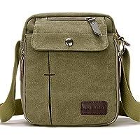 SupaModen Men Small Vintage Canvas Messenger Bag Cross Body Bag Pack Organizer Satchel Bag Durable Multi-Pocket Sling Shoulder Bag