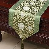 高品質のテーブルランナー 中国古典的な高級緑色の花テーブルランナーダムダイニングテーブルテーブルクロスコーヒーテーブルクロスリビングルームキッチンレストランホテルホームデコレーション KKY-ENTER (サイズ さいず : 33*150cm)