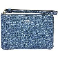 Coach Small Crossgrain Leather Corner Zip Wristlet Denim F67584
