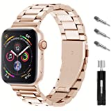 Ontube Bands Compatible with Apple Watch, Stainless Steel Link Bracelet Strap for Series SE/6/5/4/3/2/1 (42MM/44MM, Rose Gold