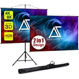 Akia Screens 2 in 1 Portable Projector Screen Dual Tripod Stand/Wall Mount 57 in 1:1/47 in 16:9/48 in 16:10 for Indoor/Outdoo