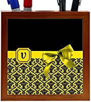 Rikki Knight Letter V Yellow Monogram Damask Bow Design 5-Inch Tile Wooden Tile Pen Holder (RK-PH42005) [並行輸入品]