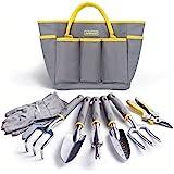 Jardineer Garden Tools Set, 8PCS Heavy Duty Garden Tool Kit with Outdoor Hand Tools, Garden Gloves and Storage Tote Bag, Gard