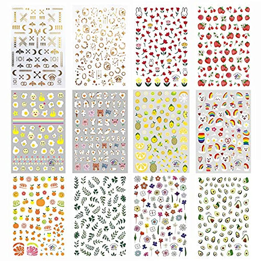 常にカウンターパート利益ネイルステッカー LATTCURE 12枚セット 極薄ネイルシール ネイルアート ネイルデコ ネイル用装飾 貼るだけ簡単 多様な絵柄 かわいい 人気