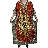 Mogul Interior Womens Caftan African Dashiki Print Beach Cover Up Maxi Dress Swimsuit Coverup OS