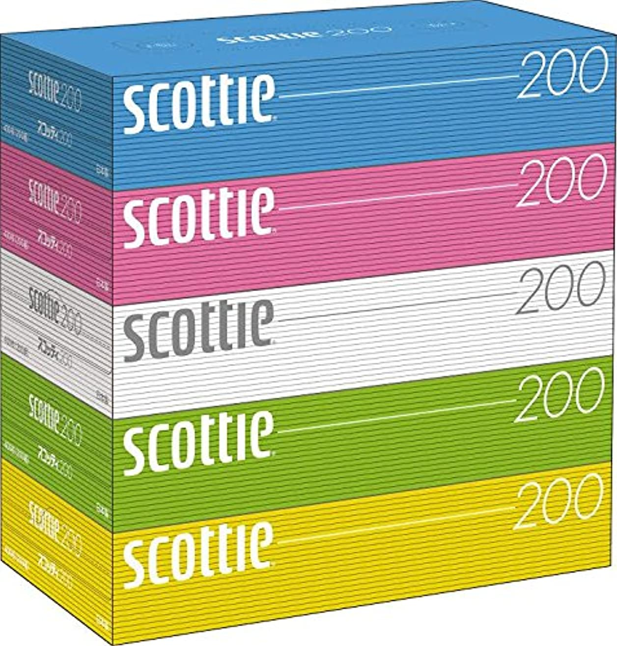 構築するお偶然美しいパステルカラー 大徳用400枚! 新スコッティ パステルデザイン BOXティッシュ 400枚(200組) 5箱入 12セット