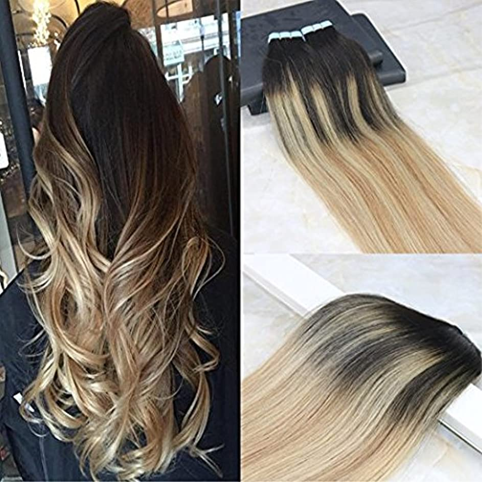やさしいマカダムクリークHairDancing 45cm Tape in Remy Hair Extensions Balayage Hair Color Dark Brown #2 Fading to #12 Mixed #613 Bleach Blonde Seamless Skin Weft Hair Extensions Remy Human Hair 50g/20pcs Full Head Set
