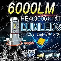 HB4(9006) 車検対応LEDヘッドライト オールインワン一体型 ZES 2nd G 最新チップ 6000Lm 6500K(純白色) 変光シール付4300K(黄色),8000K(蒼白色)調整可 細い発光 角度調整機能付き DC 12v/24v 1灯 [YOUCM][2年保証]