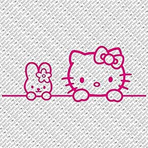 ハロー キティ HELLO KITTY BUNNY FRIEND GIRL KIDS カー ウィンドウ ビニール デカール ステッカー サイズ : 8.0×3.1インチ (並行輸入品) (ホット ピンク)