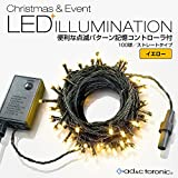 【AD&C TORONIC】LEDイルミネーション 100球ストレートタイプ 10m メモリー機能内蔵コントローラー付 カラー: イエロー 10連結可能タイプ