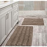 Extra Thick Striped Bath Rugs for Bathroom - (Set of 2) Anti-Slip Bath Mats Soft Plush Chenille Yarn Shaggy Mat Living Room B