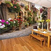 Lcymt ヨーロッパの街並みのカスタム壁画壁紙花フル壁の壁画プリント家の装飾写真の壁紙3D-120X100Cm