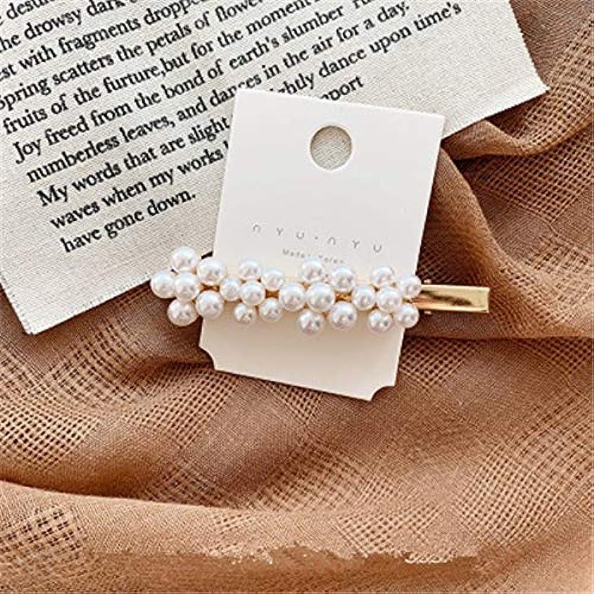 欠如バブルリマークHairpinheair Yhm模造真珠の花ヘアピンヴィンテージロングバレットヘアクリップクリスタルメタルヘアアクセサリーヘアグリップ (色 : Color3)