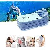 "Inflatable Bath Tub for Adult,Folding Adult PVC Portable Bathtub Blow Up Air Bath Tub w/Cushion,63""x33""x25.1""(Color : Blue)"