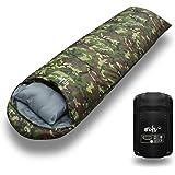 【archi】 寝袋 枕付き シュラフ 高機能 210T 封筒型 コンパクト収納 最低使用温度-15℃