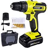 CACOOP 20V Lithium-Ion power Cordless Drill Set With 2.0Ah Battery, 1 fast charger, 9 HSS wood drill bits, 8Screwdriver bits,