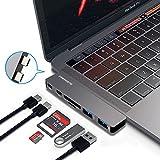 USB Type-C ハブ PD機能 Thunderbolt hub 2016 2017 MacBook Pro専用 USB3.0 Thunderbolt3 5Kビディオ SD MicroSD【メーカーより永久保証】(グレー/6in1)