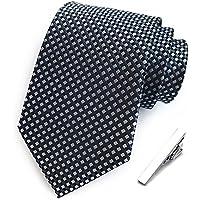 Dertring Men's Classic Stripe Jacquard Woven Silk Tie Formal Party Suit Necktie + Gift Tie Clip