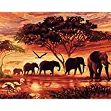 LovetheFamily 数字油絵 数字キット塗り絵 手塗り DIY絵 デジタル油絵 夕日の象 40x50cm ホーム オフィス装飾