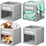 mDesign Soft Fabric Closet Storage Organizer Cube Bin Box, Clear Window and Handle - for Child/Kids Room, Nursery, Playroom,