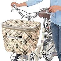前かごカバー 2段式 ひったくり予防 雨や盗難から荷物を守る 自転車カゴカバー 撥水加工 大容量 反射帯付き ベージュ