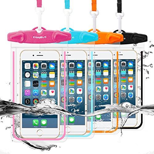 Easylife [4本セット] 防水ケース スマホ用防水ポーチ 防水等級IPX8 高感度PVCタッチスクリーン 夜間発光 お風呂 温泉 潜水 5.5インチまでのiPhoneとAndroidスマホに対応可能 (Black+Blue+Orange+Hotpink)
