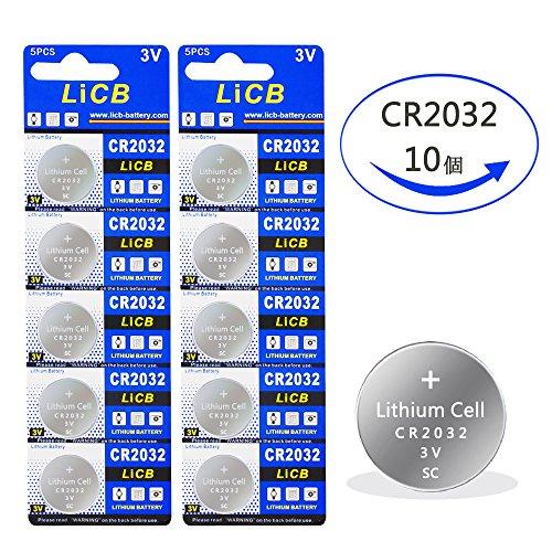 LiCB 10個 CR2032 ボタン電池 3v リチウムコ...