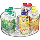 mDesign Divided Lazy Susan Turntable Storage Container for Kitchen Cabinets Pantries Refrigerator Countertops - BPA Free & Fo
