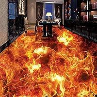 Xbwy カスタマイズされた人格3D立体床壁画壁紙リビングルーム寝具部屋の床の装飾ビニール壁紙燃える火-120X100Cm