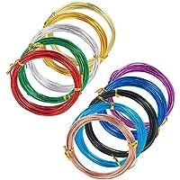 PandaHall Elite アーティスティックワイヤー 1.5mm ミックス 10巻セット カラー アルミワイヤー Aluminum Wire ワイヤー クラフト 材料 ビーズ手芸 副資材 混合色 6m/巻き