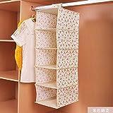 [POWIITEM] かわいいお部屋に 簡単取り付け 吊り下げ 5段 収納ボックス ラック [送料込み・ポイント還元] (花柄ベージュ)