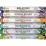 120 Sticks of Stamford Premium Aromatherapy Hex Range Incense Sticks - Relaxing, Stress Relief, Meditation, Refreshing, Sensu