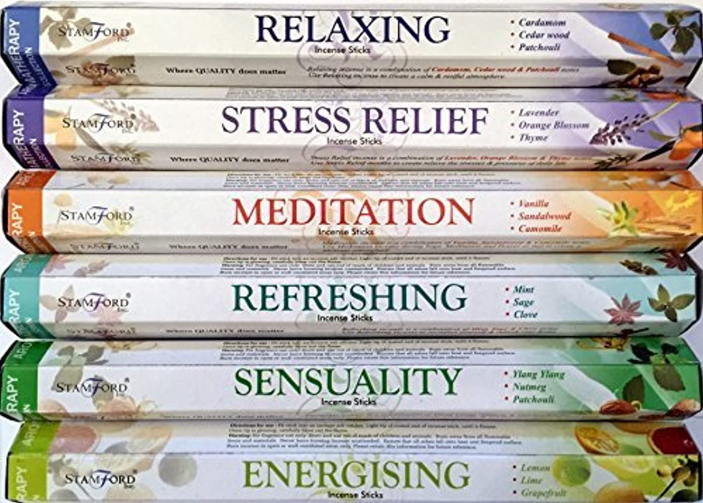 俳優パキスタン不格好120 SticksのStamfordプレミアムアロマセラピーHex範囲Incense Sticks – リラックス、ストレスリリーフ、瞑想、リフレッシュ、Sensuality & Energising Incense...