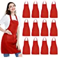 NOBONDO 12 Pack Bib Apron - Unisex Red Apron Bulk with 2 Roomy Pockets Machine Washable for Kitchen Crafting BBQ Drawing
