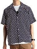 (ラフタス) Rafftas 半袖 総柄 オープンカラー 開襟シャツ メンズ 半袖シャツ シャツ ワイド Mサイズ F柄 ネイビー