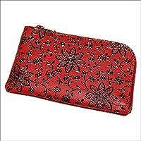 印傳屋 印伝 小銭入れ ( コインケース ) 1001 (赤×黒) メンズ レディース 日本製 和柄 本革 和小物 プチギフトにも! 通販
