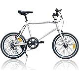 自転車 ミニベロ 小径自転車 20インチ シマノ6段 ライト・カギ・空気入れ付 [EB-100]