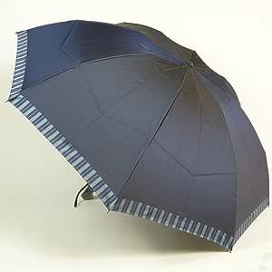 高級甲州織 メンズ 折りたたみ傘 「Tie」 (表)無地 × (裏)ストライプ NAVY 紺色 江戸時代から140年以上の歴史を持つ甲州織の老舗傘メーカー 槙田商店 紳士用 高級傘