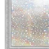 KTJ 窓用フィルム 3D 窓飾りフィルム SV014-L100-EY445 ガラス目隠しシートUVカット 石柄 幅44.5cm