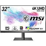 MSI Creator PS321URV クリエイター向けモニター 高画質IPSパネル 鮮やかな色彩表現 遮光フード付き 4K/32インチ/HDR600対応/色差△E≤2/DCI-P3カバー率95%/sRGBカバー率98%/AdobeRGBカバー率8