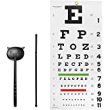 Eye Chart, Snellen Eye Chart Wall Chart, with Hand Pointer and Eye Occluder for Eye Medical Exams (3 Piece Set)