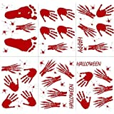 OurWarm 60pcs Handprint Footprint Halloween Window Clings Horror Vampire Zombie Window Decals for Halloween Decorations [並行輸入品]