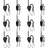 6 Pairs 1/8 inch Adjustable Heavy Duty Rope Hanger - Reinforced Metal Internal Gears Ratchets foe Growing Light Fixtures, Loo