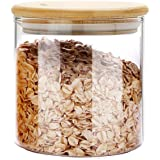 MIOCARO Glass Food Storage Containers Jar Seal Bamboo Lids 600ml Airtight Canister Organization Sets Stackable