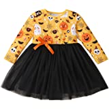 Kids Toddler Girls Clothes Long Sleeves Floral Halloween Dress Bowknot Splicing Mesh Skirt One-Piece Overall Outfits Fall