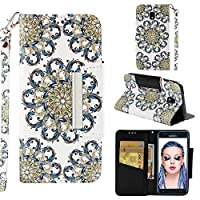[Galaxy J3 2018] Case, MGVV Leather Folio Flip Case Cover Book Design with Kickstand Feature with Card Slots/Cash Suitable for Samsung Galaxy J3 2018 Flower