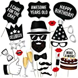 (34, Silver) - Birthday Photo Booth Props Silver Kit by PartyGraphix (34, Silver)