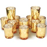 Volens Gold Votive Candle Holders, Mercury Glass Tealight Candle Holder Set of 12